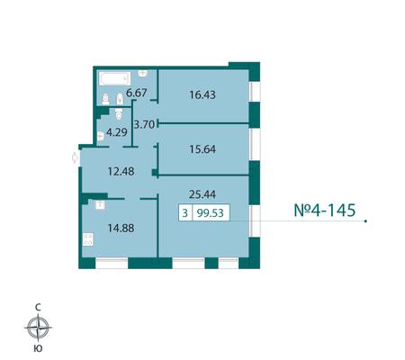 Планировка Трёхкомнатная квартира площадью 100.9 кв.м в ЖК «Смольный парк II очередь»