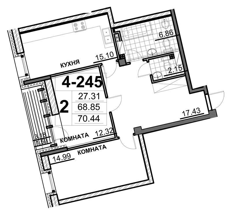 Планировка Двухкомнатная квартира площадью 71 кв.м в ЖК «Смольный парк»