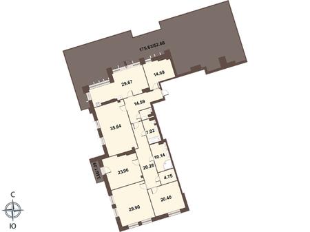 Планировка Четырёхкомнатная квартира площадью 269.6 кв.м в ЖК «Смольный парк II очередь»