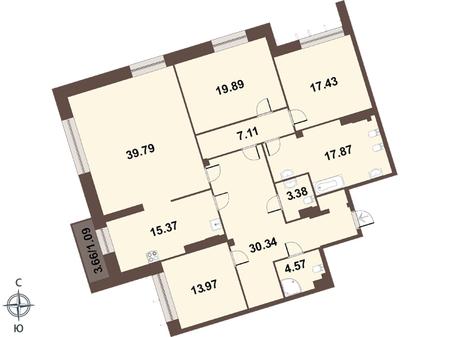 Планировка Четырёхкомнатная квартира площадью 171.4 кв.м в ЖК «Смольный парк II очередь»