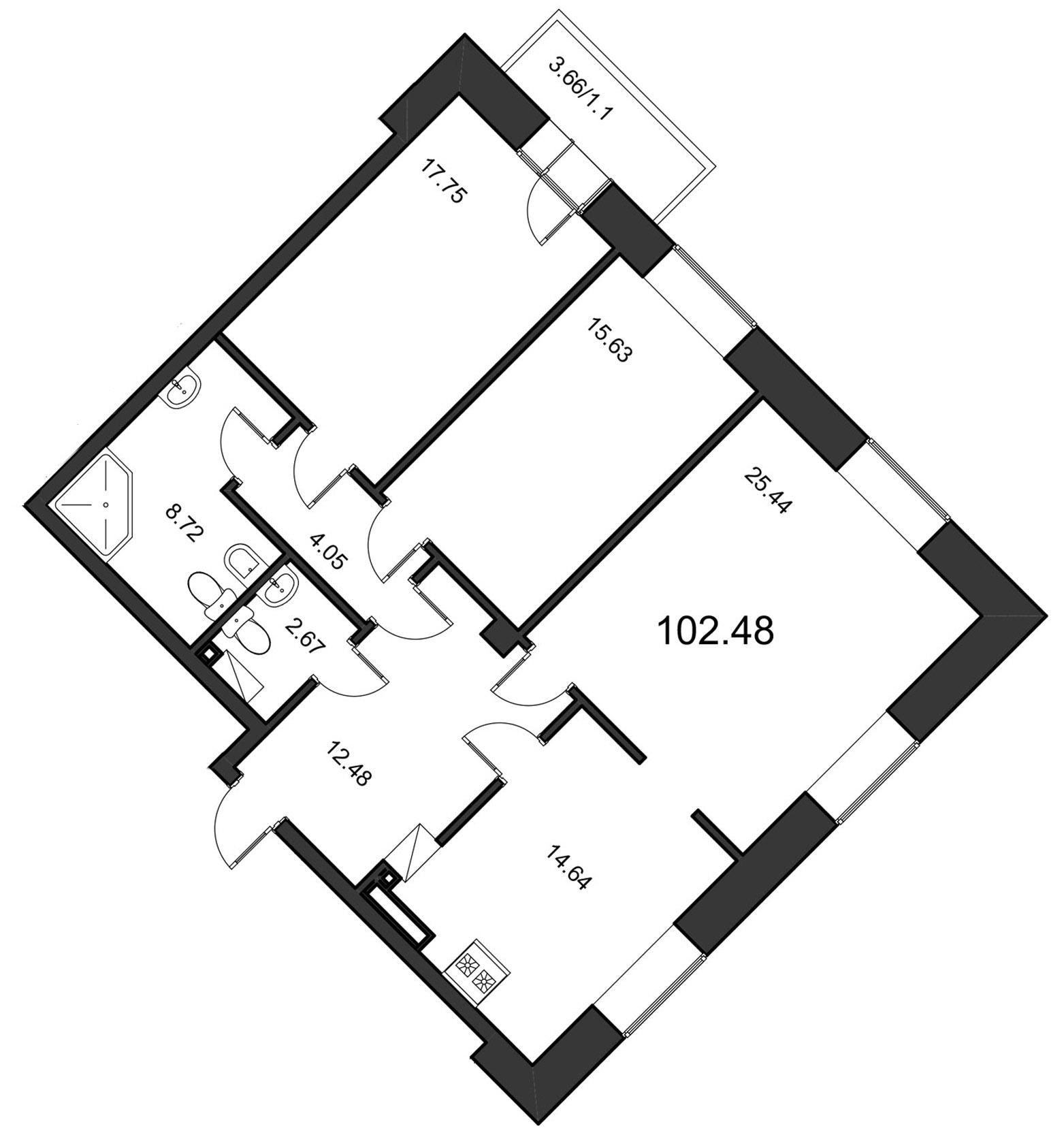 Планировка Трёхкомнатная квартира площадью 103.3 кв.м в ЖК «Смольный парк»