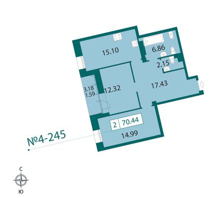 Планировка Двухкомнатная квартира площадью 71 кв.м в ЖК «Смольный парк II очередь»
