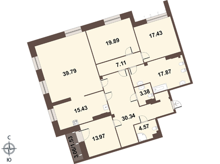 Планировка Четырёхкомнатная квартира площадью 172.4 кв.м в ЖК «Смольный парк II очередь»