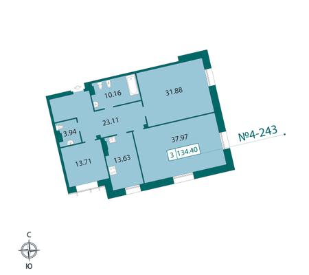 Планировка Трёхкомнатная квартира площадью 136.1 кв.м в ЖК «Смольный парк II очередь»