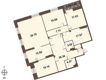 Планировка Четырёхкомнатная квартира площадью 177.4 кв.м в ЖК «Смольный парк II очередь»