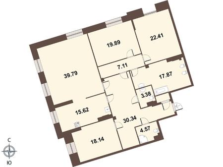 Планировка Четырёхкомнатная квартира площадью 181 кв.м в ЖК «Смольный парк II очередь»